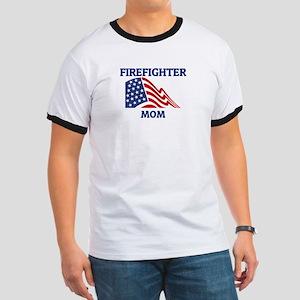 Firefighter MOM (Flag) Ringer T