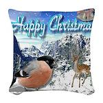 Happy Christmas Woven Throw Pillow