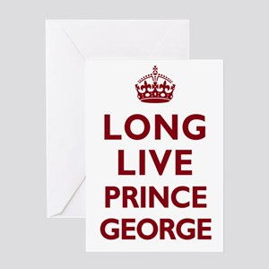 Long Live Prince George - Red on White Greeting Ca