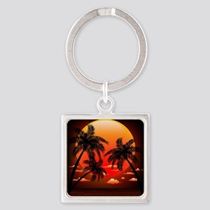 Warm Topical Sunset with Palm Trees Keychains