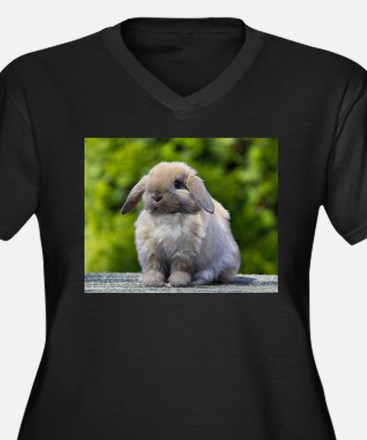 Cute Bunny Women's Plus Size V-Neck Dark T-Shirt