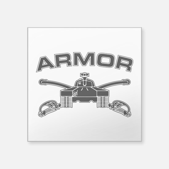 "Armor Branch Insignia (BW) Square Sticker 3"" x 3"""