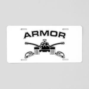 Armor Branch Insignia (BW) Aluminum License Plate