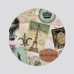 Vintage Travel collage Ornament (Round)
