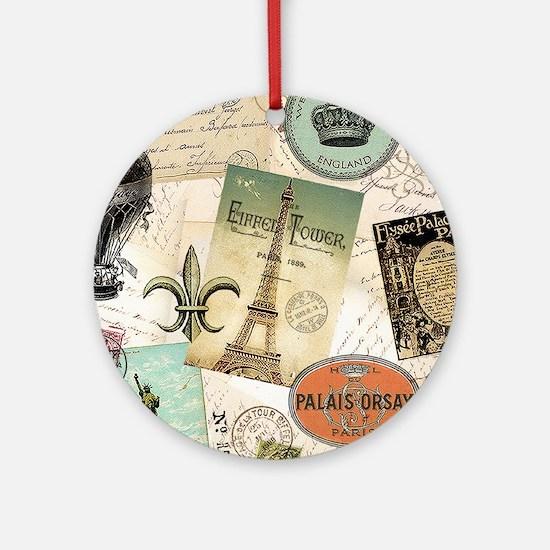 Vintage Travel collage Ornament (Round)