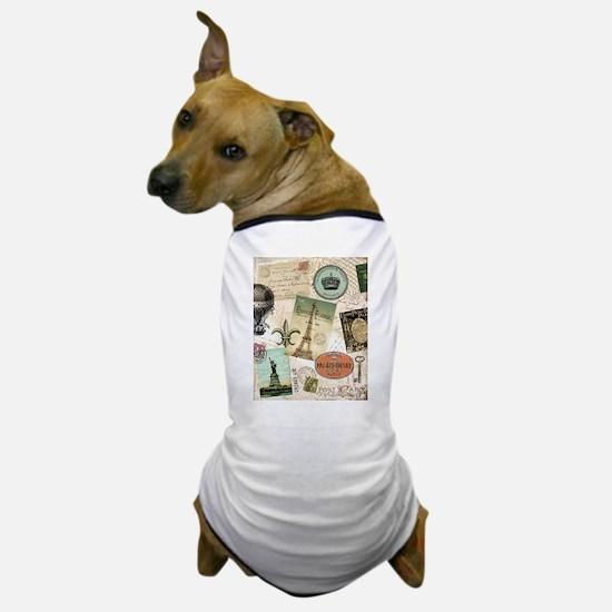 Vintage Travel collage Dog T-Shirt