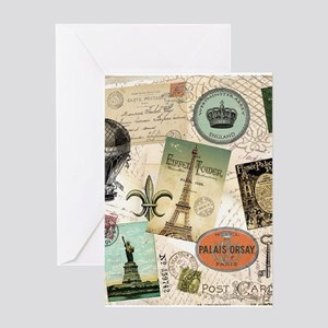Vintage Travel collage Greeting Cards