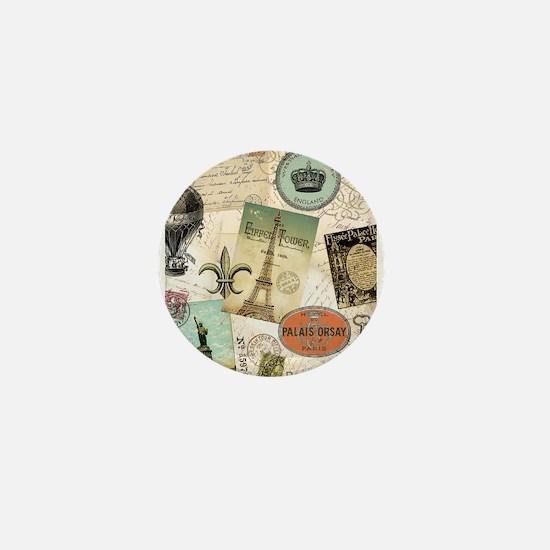 Vintage Travel collage Mini Button