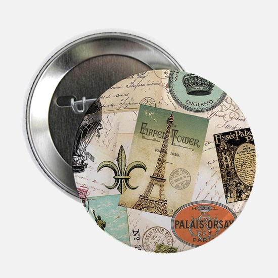 """Vintage Travel collage 2.25"""" Button (10 pack)"""