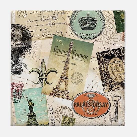 Vintage Travel collage Tile Coaster