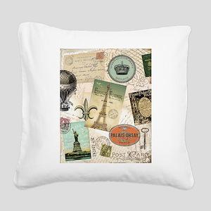 Vintage Travel collage Square Canvas Pillow