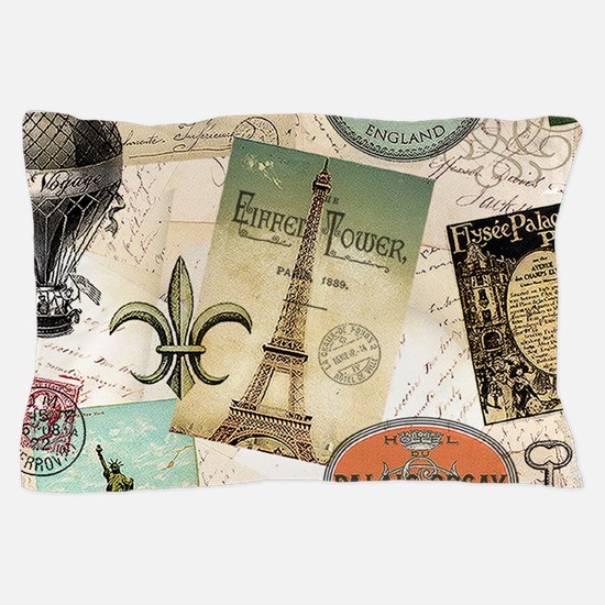 Vintage Travel collage Pillow Case