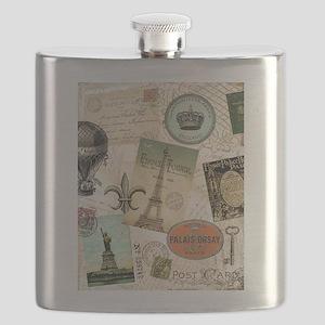 Vintage Travel collage Flask