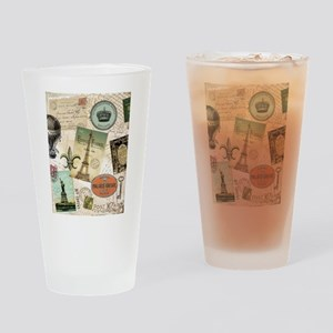 Vintage Travel collage Drinking Glass