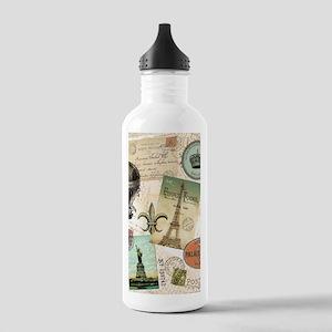 Vintage Travel collage Water Bottle