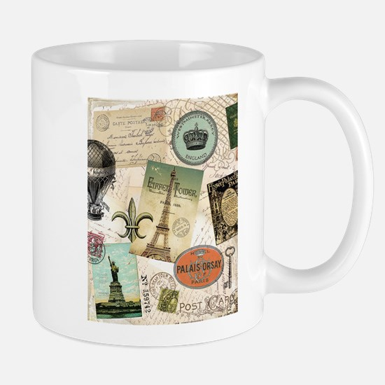Vintage Travel collage Mugs