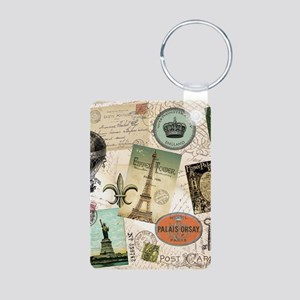 Vintage Travel collage Keychains
