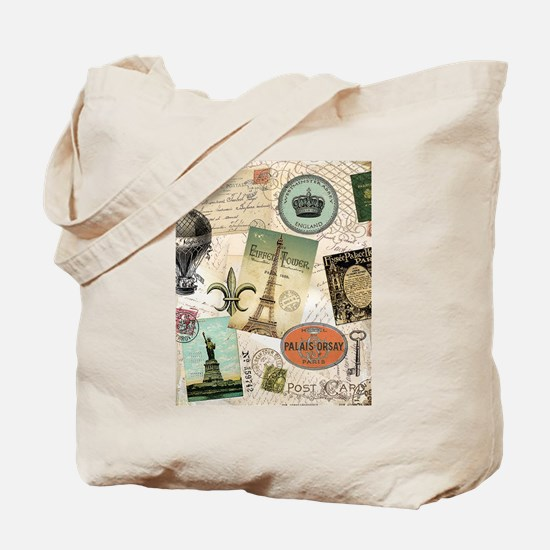 Vintage Travel collage Tote Bag