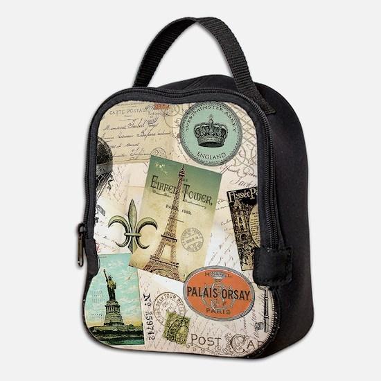 Vintage Travel collage Neoprene Lunch Bag