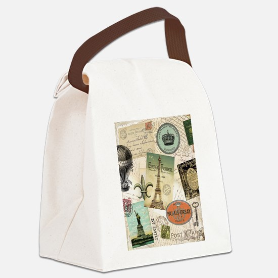 Vintage Travel collage Canvas Lunch Bag