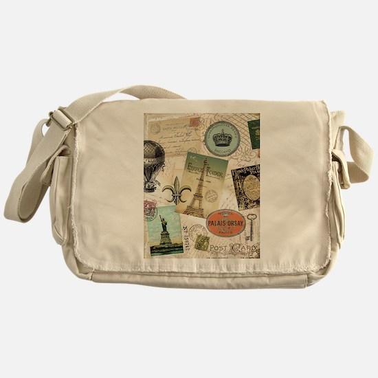 Vintage Travel collage Messenger Bag