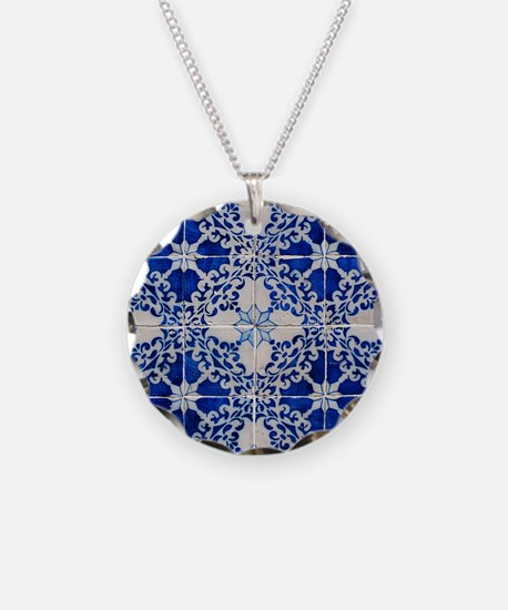 Portuguese Azulejos Necklace Circle Charm