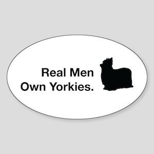 Real Men Own Yorkies Oval Sticker Sticker