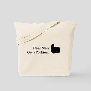Real Men Own Yorkies Tote Bag