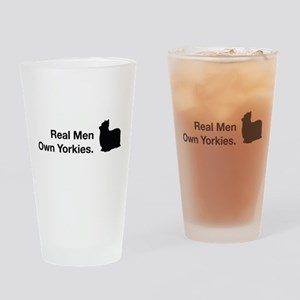 Real Men Own Yorkies Drinking Glass