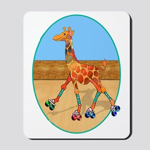 Roller Skating Giraffe at the Roller Rin Mousepad