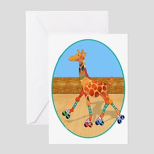 Roller Skating Giraffe at the Roller Greeting Card