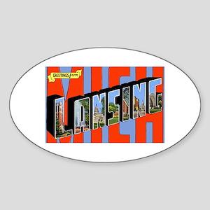 Lansing Michigan Greetings Oval Sticker