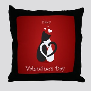Cute Valentine's Day Cats Love Throw Pillow