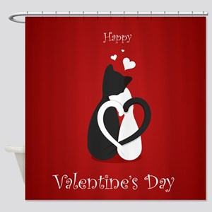 Cute Valentine's Day Cats Love Shower Curtain