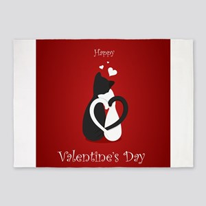 Cute Valentine's Day Cats Love 5'x7'Area Rug