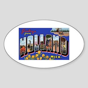 Holland Michigan Greetings Oval Sticker