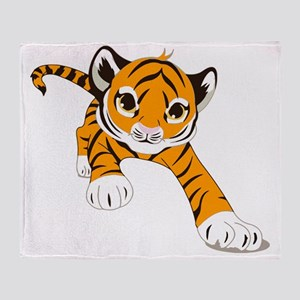 Little Prowling Tiger Cub Throw Blanket