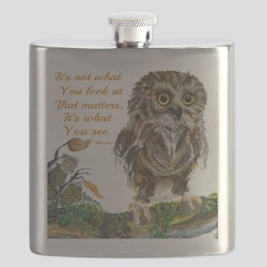 Watercolor of Wise Baby Owl Flask