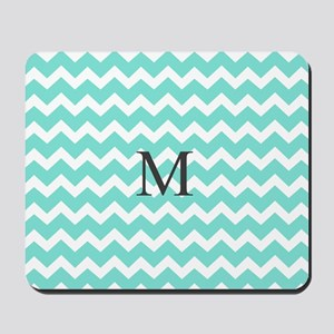 Aqua White Chevron Monogram Mousepad