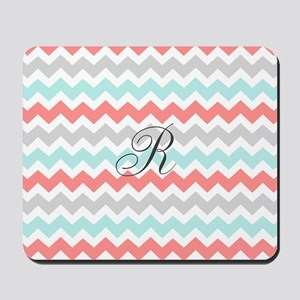 Aqua Coral Grey Chevron Monogram Mousepad