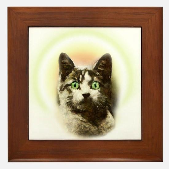 God Cat Framed Tile
