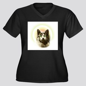 God Cat Women's Plus Size V-Neck Dark T-Shirt