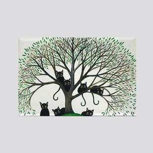Borders Black Cats in Tree Rectangle Magnet