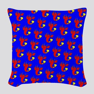 Blue Red Lobster Cuties Designer Woven Throw Pillo