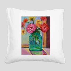 Zinnias in Mason Jar Square Canvas Pillow