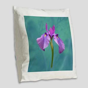 Purple Iris Burlap Throw Pillow