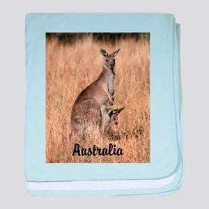 Kangaroo Mum with Joey in Pouch baby blanket