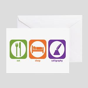 Eat Sleep Calligraphy Greeting Cards (Pk of 10