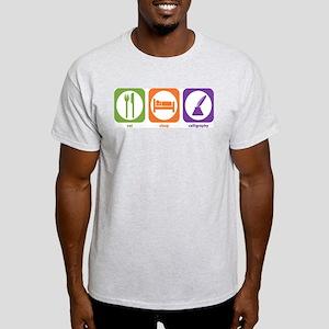 Eat Sleep Calligraphy Ash Grey T-Shirt