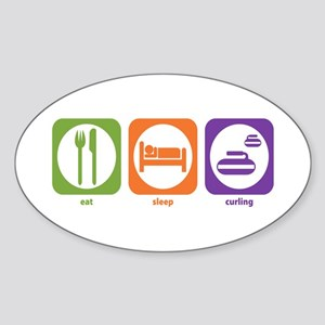 Eat Sleep Curling Oval Sticker
